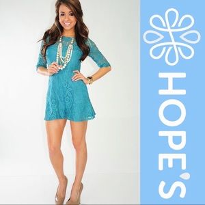 Teal Lace Three Quarter Sleeve Romper with Pockets